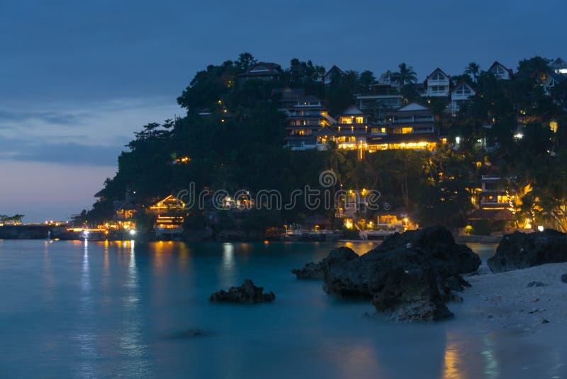 Dinivid plaża przy nocą, Boracay, Filipiny zdjęcie stock