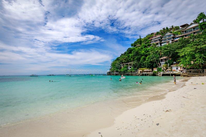 Diniwid wyrzucać na brzeg widok, piasek plaża w Boracay wyspie w Filipińczyk obraz stock