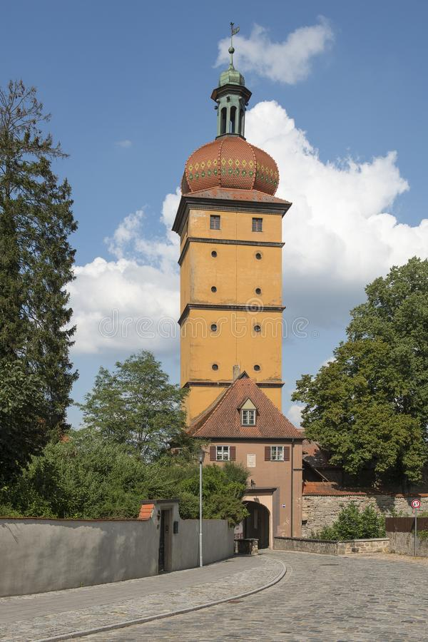 The Segringer Tower on the edge of the city of Dinkelsbühl a historic village on the royalty free stock images