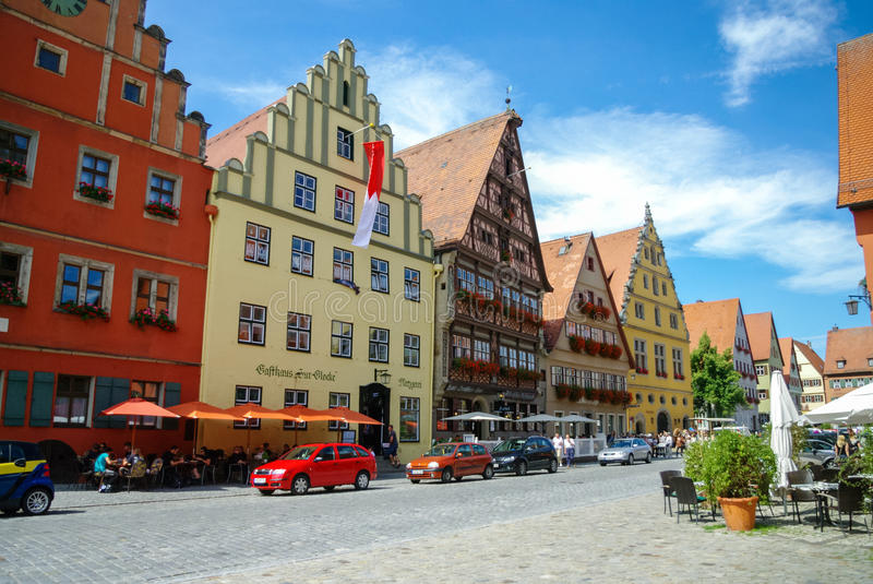 Dinkelsbuhl, Germany - August 28, 2010: Street view of Dinkelsbuhl, one of the archetypal towns on the German Romantic Road. royalty free stock image