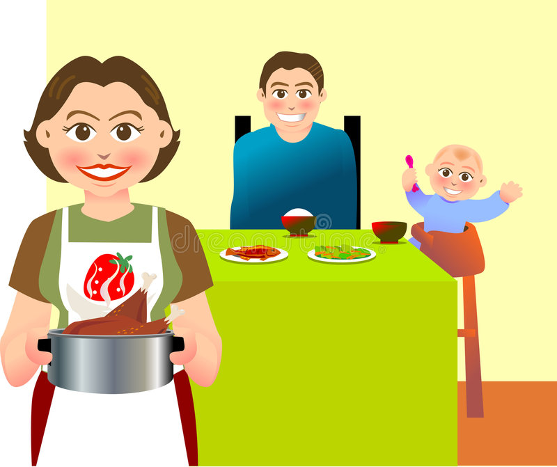 Download Dinner stock vector. Image of family, baby, fish, poultry - 5267445