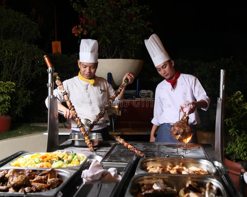 Dinner barbecue. Grilled meat at dinner barbecue royalty free stock images