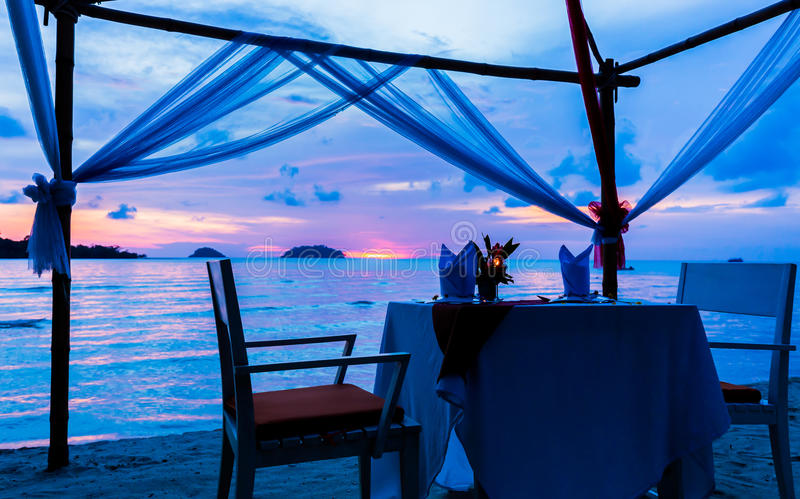 Dinner. On beach in island of thailand royalty free stock photos
