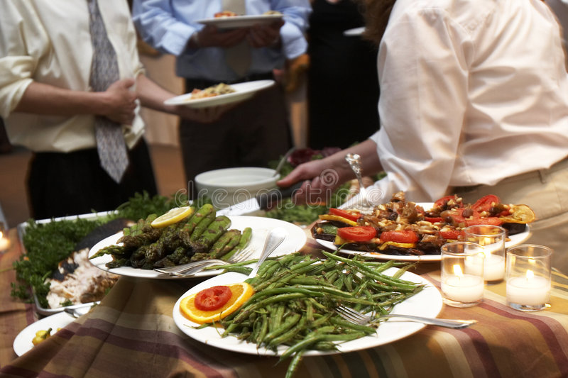 Dinner Being Served At A Wedding Royalty Free Stock Images
