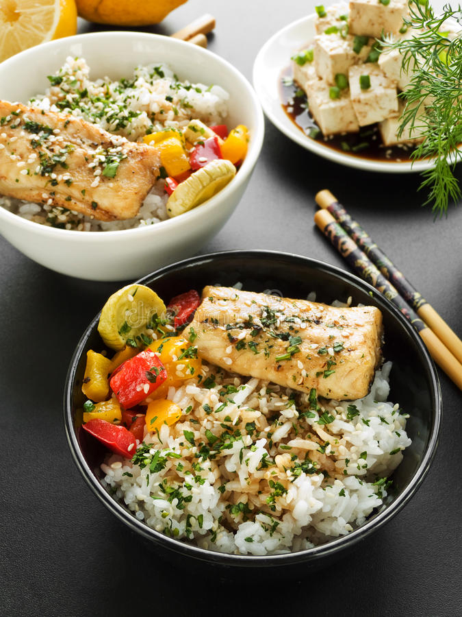 Download Dinner stock photo. Image of rice, fish, fruit, pepper - 31213890