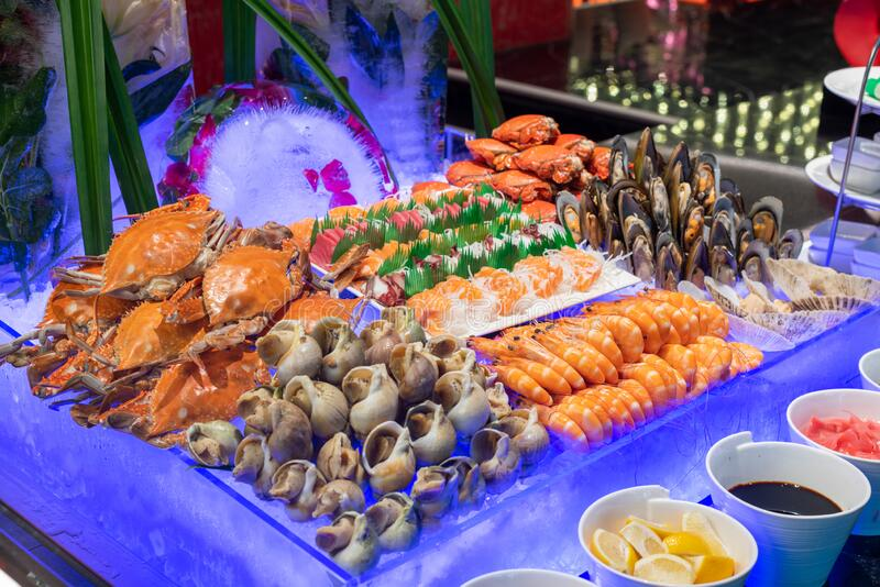 Hotel Seafood dinner buffet. Dinner buffet with variety of Seafood in a luxury hotel royalty free stock images