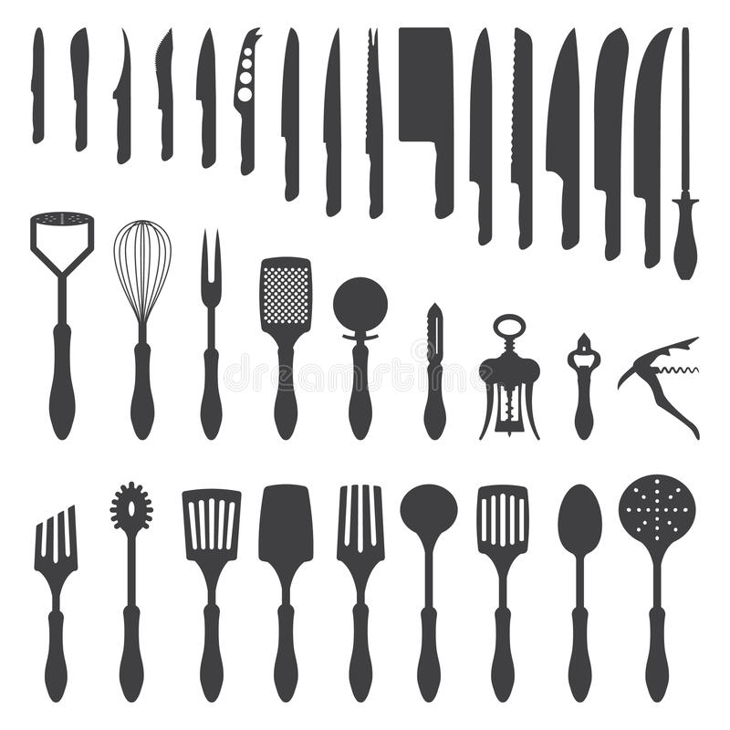 Dinner cutlery silhouette set stock vector image 45754516 for Kitchen set vector