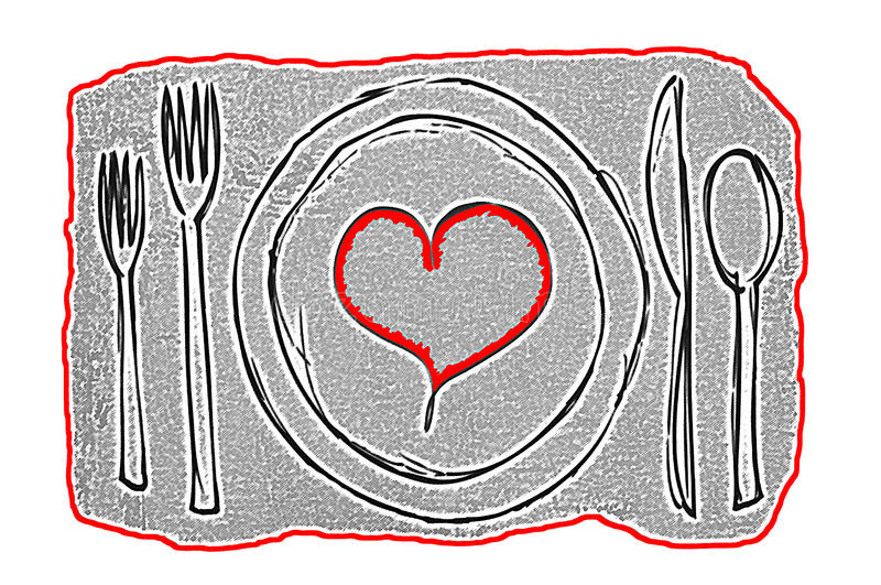 Dinner Date Contemporary Art concept with plate containing a red heart surrounded by silverware stock illustration