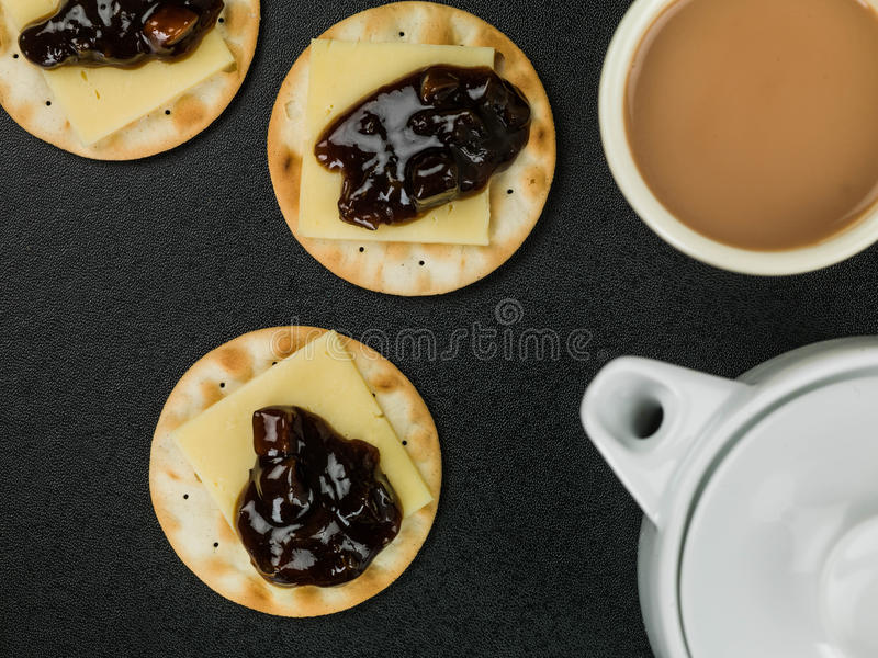 After Dinner Dessert of Cheese and Pickle Crackers stock photo