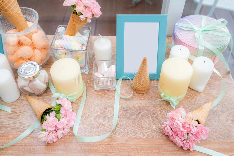 Party dining table stock images