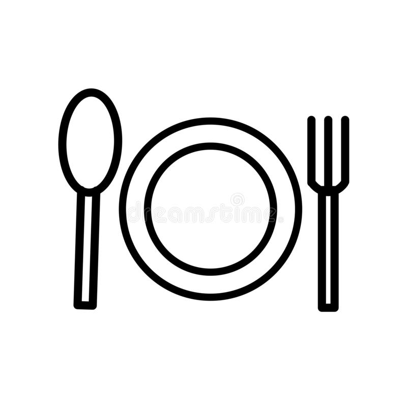Dinner icon vector isolated on white background, Dinner sign , line or linear sign, element design in outline style royalty free illustration