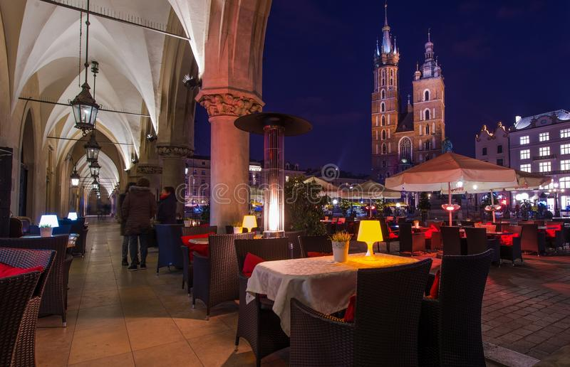 Dinner in the Krakow. Late Evening in the Krakow. Cracow Main Square stock images