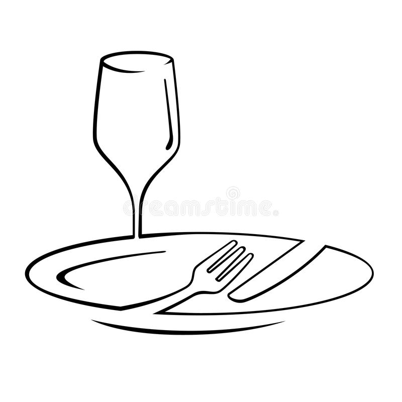 Dinner Line Art. Meal line-art of plate, fork, knife and glass wine stock illustration