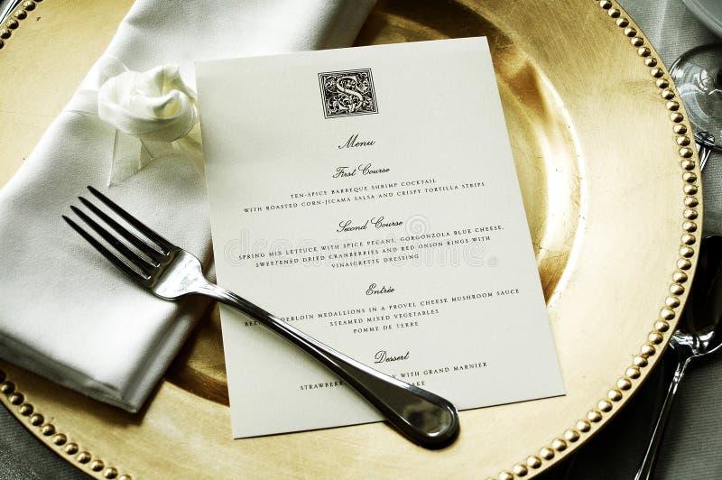 Dinner Menu stock image