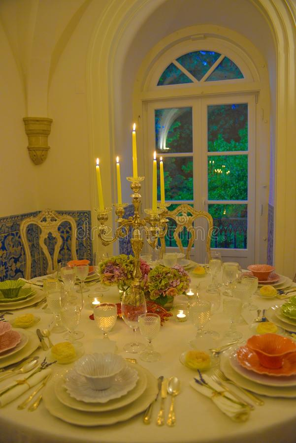 Dinner Party, Banquet Tables Decoration, Event, Wedding stock photo