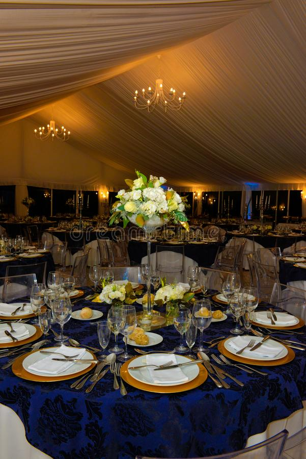 Dinner Party Banquet Tables Decoration, Wedding, Event stock photos