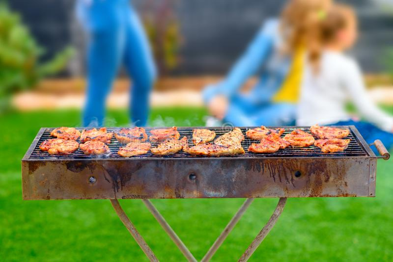 Dinner party, bbq on back yard. Happy family moments. royalty free stock photo