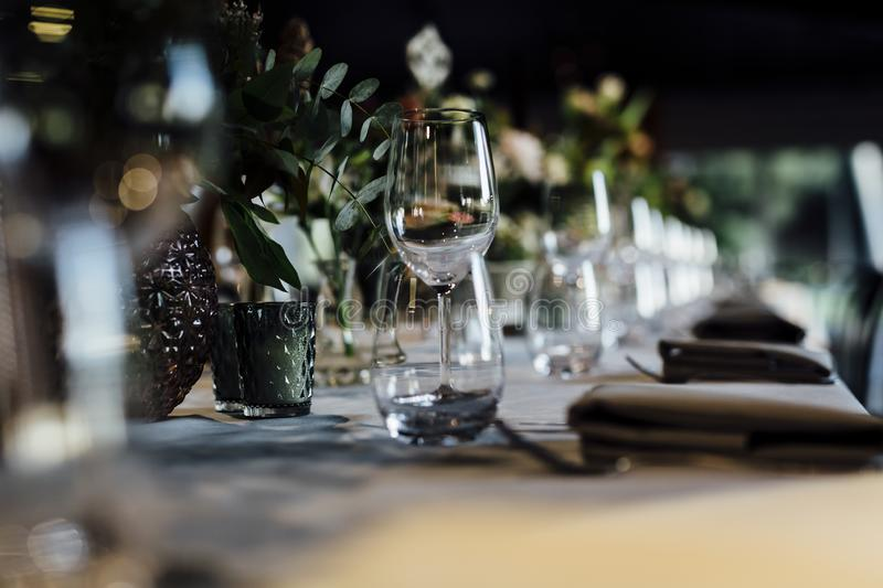 Dinner and party settings for dating and holydays stock photos