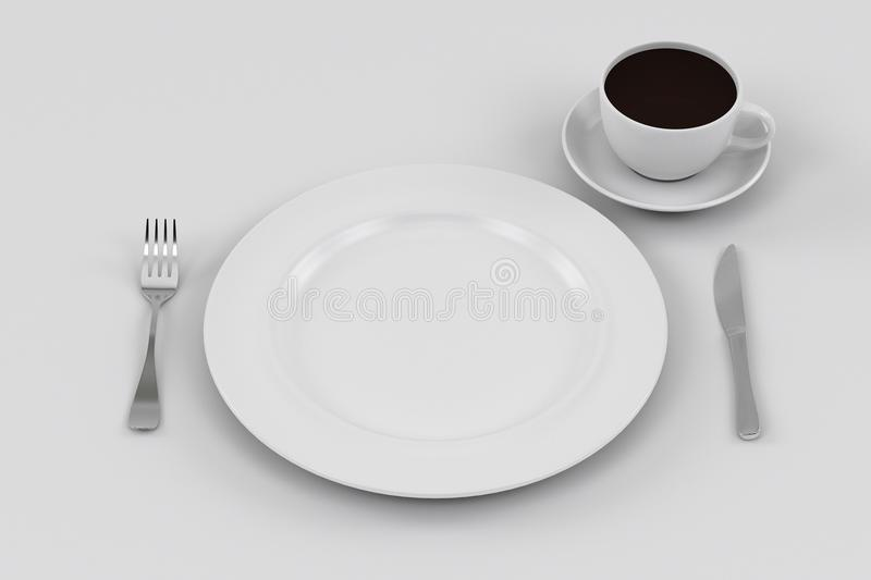 Dinner Plate Knife And Fork Coffee Cup Stock