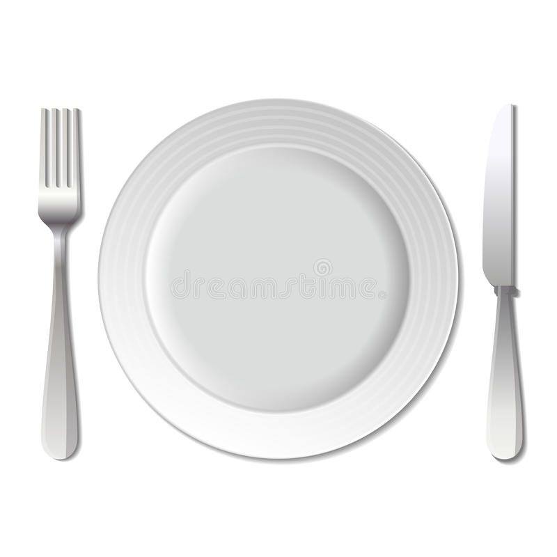dinner plate knife and fork vector stock vector