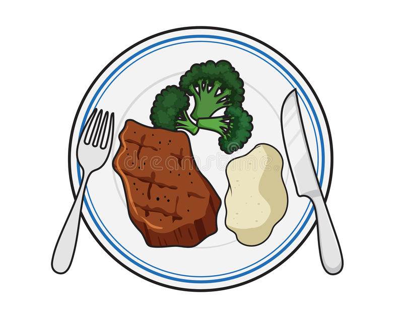 Download Dinner plate meal stock vector. Illustration of sirloin - 97637475  sc 1 st  Dreamstime.com : cartoon dinner plate - pezcame.com