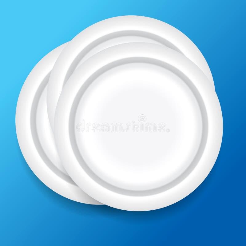 Dinner plates. On blue background vector illustration