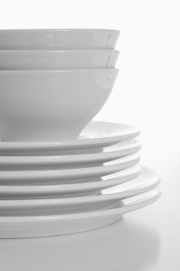 dinner plates and bowls stock images