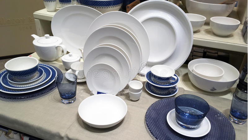 Dinner Plates in Shop royalty free stock image