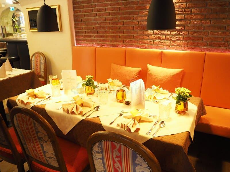 Dinner in restaurant2 stock images