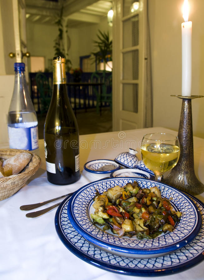 Dinner in riad hotel in essaouira morocco royalty free stock photo