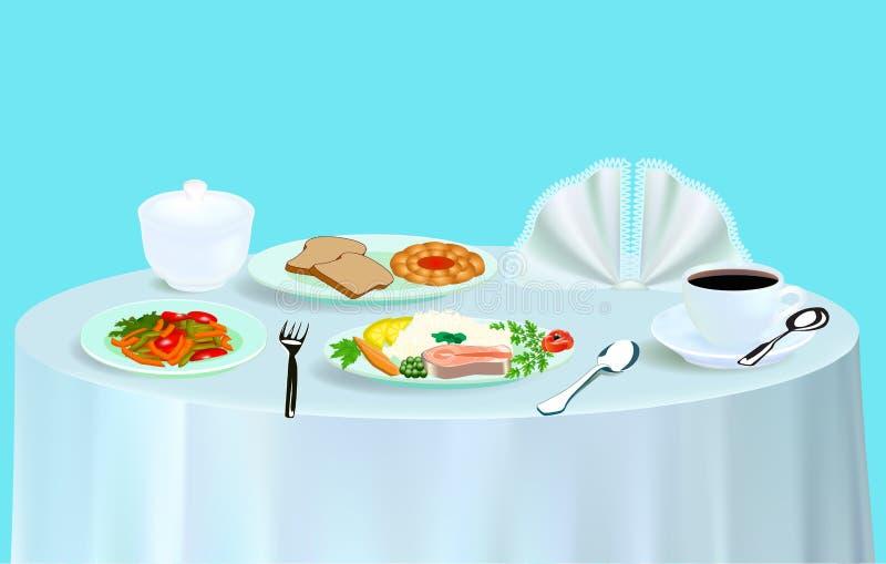 Download Dinner With Salad Fish Tea And A Bun Stock Image - Image: 35814591