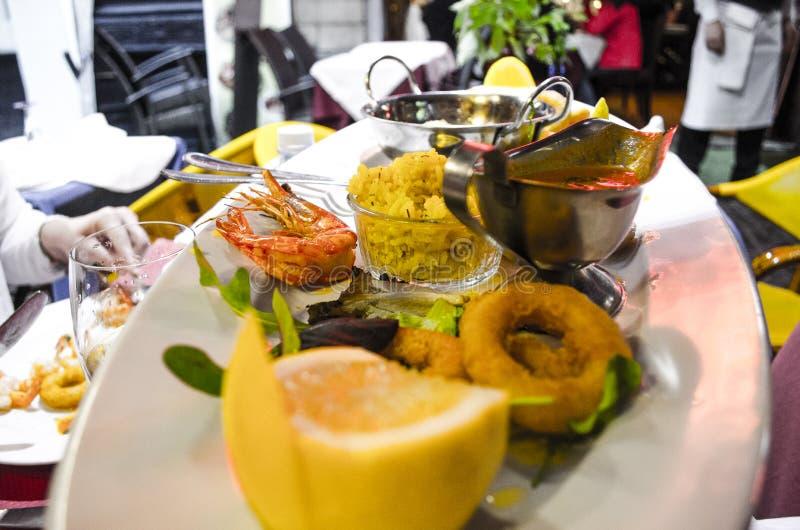 Dinner seafood in Belgium royalty free stock photos
