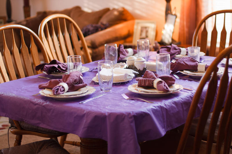 Dinner table place setting stock images