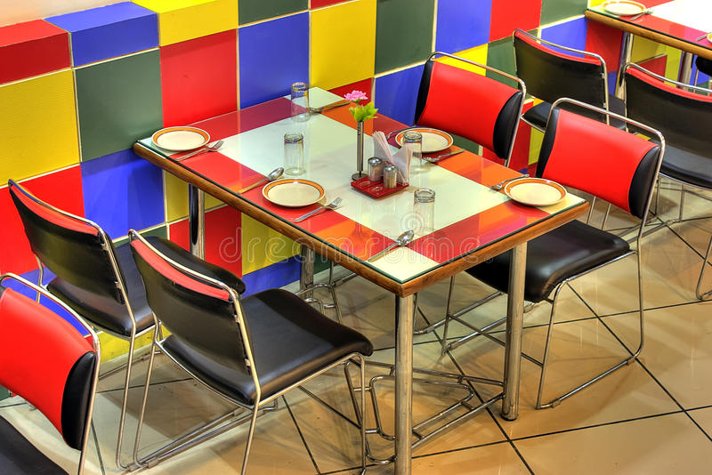 Dinner table at restaurant stock photos