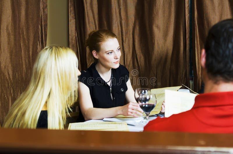 Download Dinner talk stock image. Image of beautiful, lounge, blonde - 719491