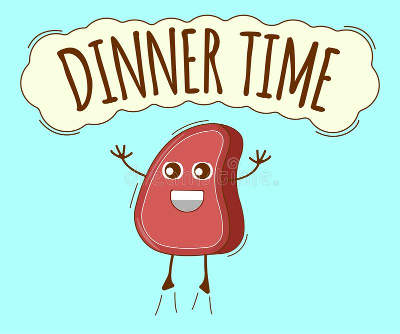 Dinner Time Banner, Meat Icon. Cute Character, Concept Label. Cartoon Vector Illustration.  vector illustration