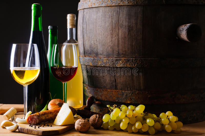 Dinner with wine and traditional food stock photos