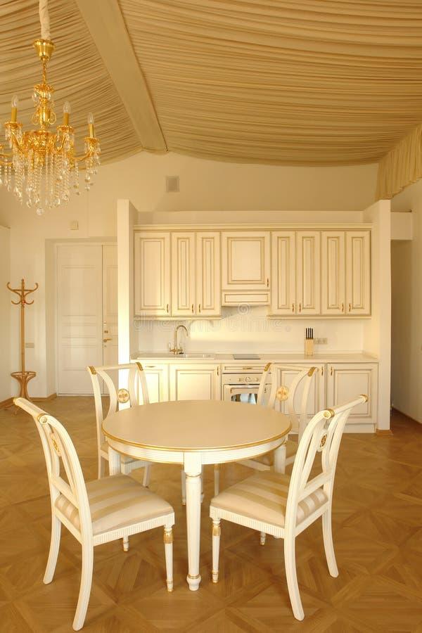dinning的厨房空间 图库摄影