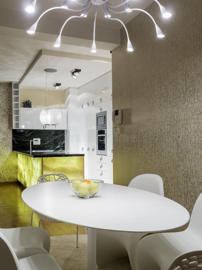 dinning的厨房空间 库存图片