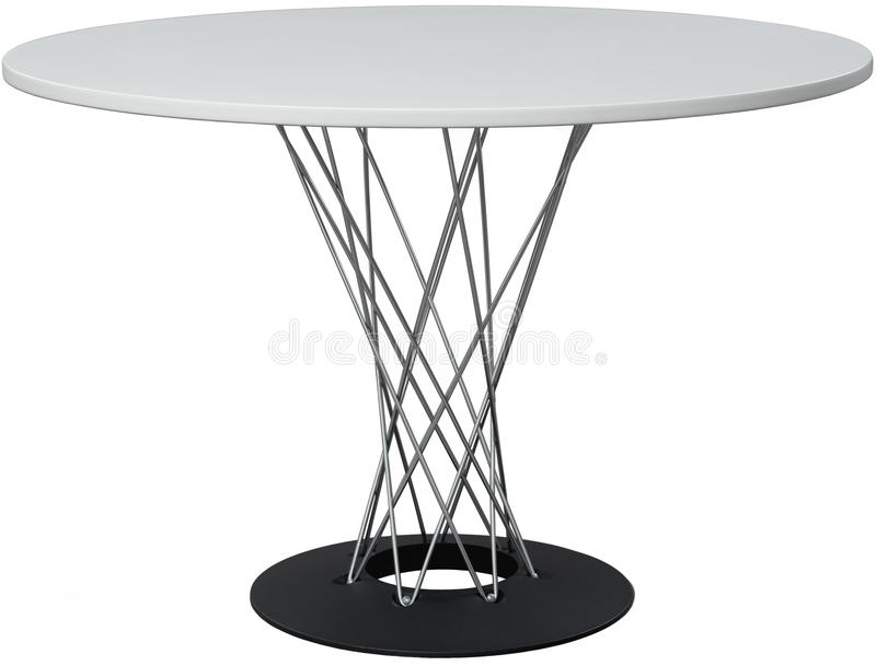 Dinning branco redonda Desenhista moderno, tabela isolada no fundo branco Série de mobília fotografia de stock royalty free