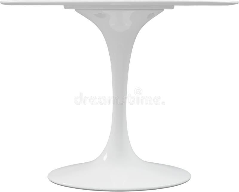 Dinning branco redonda Desenhista moderno, tabela isolada no fundo branco Série de mobília fotos de stock