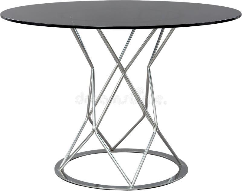 Dinning de vidro redonda Desenhista moderno, tabela isolada no fundo branco Série de mobília imagens de stock royalty free