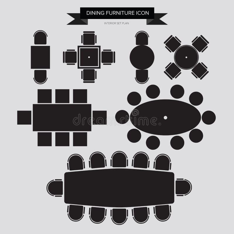 Dinning möblemangsymbol vektor illustrationer