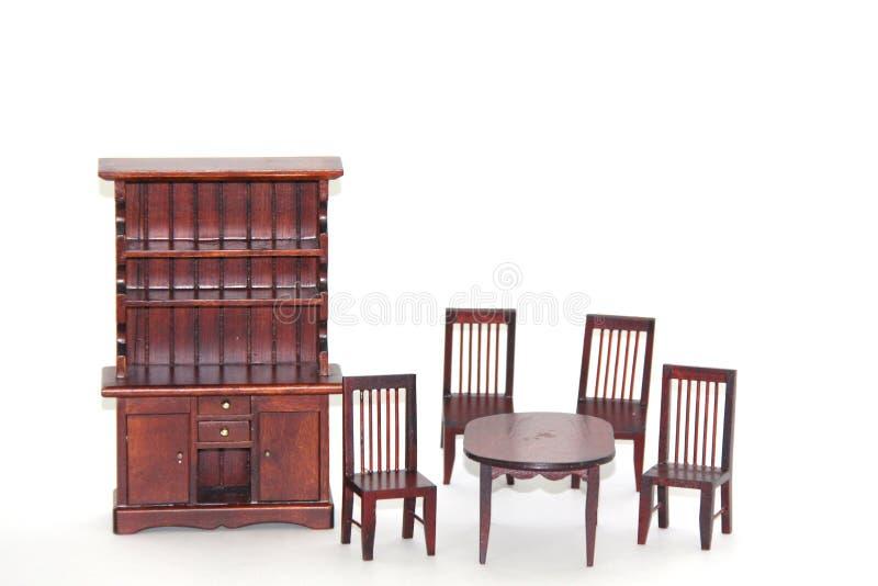 Dinning Raumset der Puppehaus-Möbel stockfoto