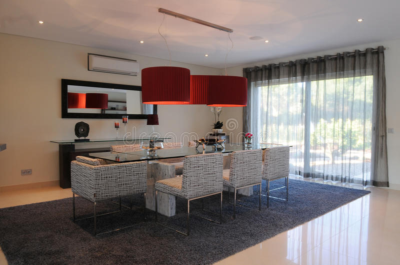 Modern Dinning Room, Stylish Red Lampshade, Luxurious Home Interior