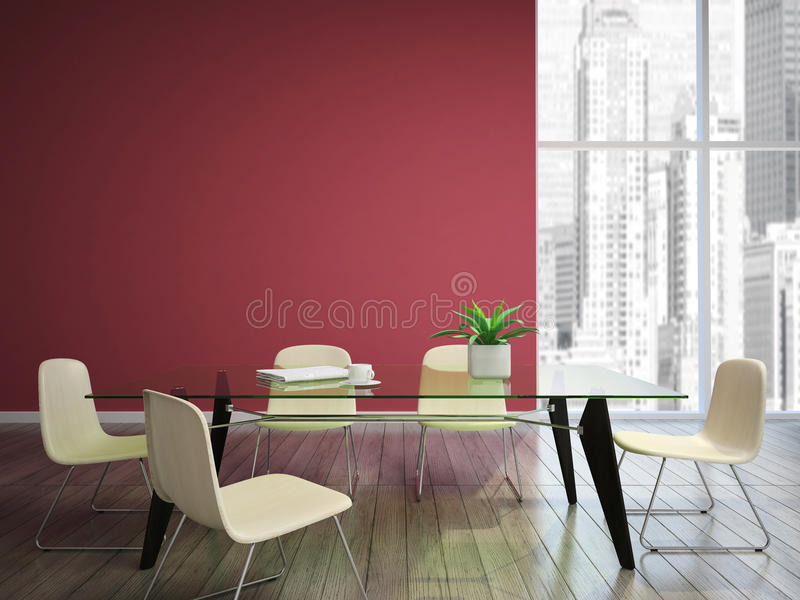 Dinnng room with burgundy walls royalty free illustration