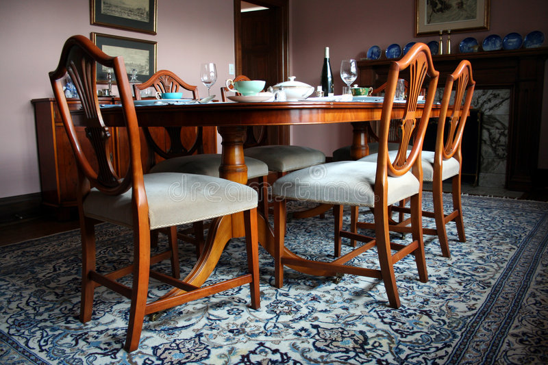 Dinning room table stock image