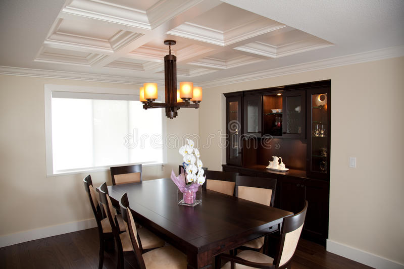Download Dinning Room With Wood Table And Wood Cabinets Stock Image - Image: 9775953
