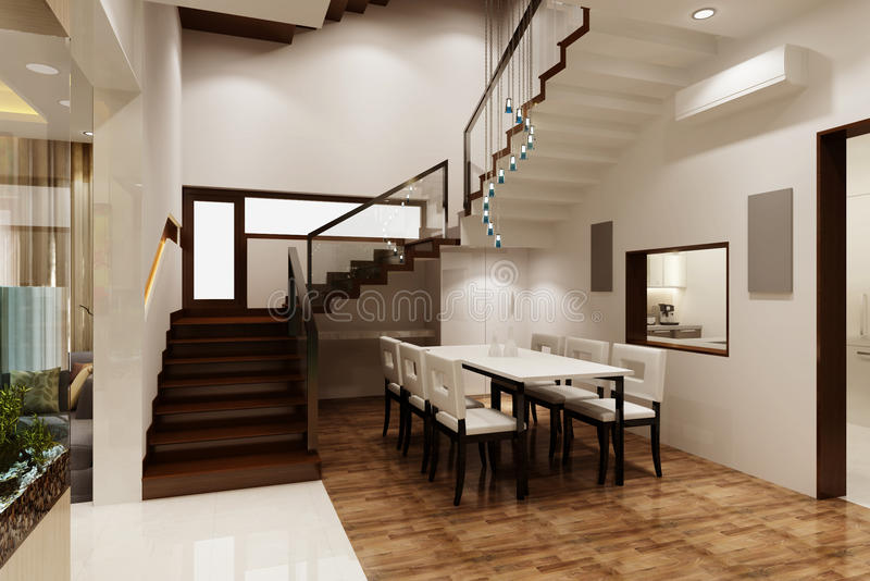 Dinning rum 3D stock illustrationer
