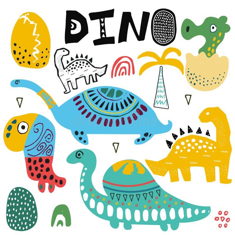 Dino και σύνολο απεικόνισης δεινοσαύρων Συρμένα χέρι χαριτωμένα εξωτικά ζώα Αυγό και φοίνικας γιος μητέρων κατσικιών γιαγιάδων πα ελεύθερη απεικόνιση δικαιώματος